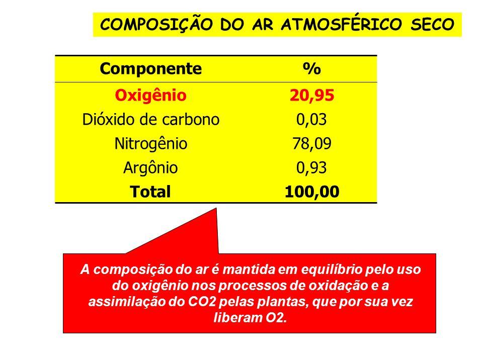 COMPOSIÇÃO DO AR ATMOSFÉRICO SECO