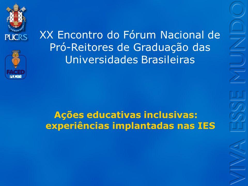 Ações educativas inclusivas: experiências implantadas nas IES