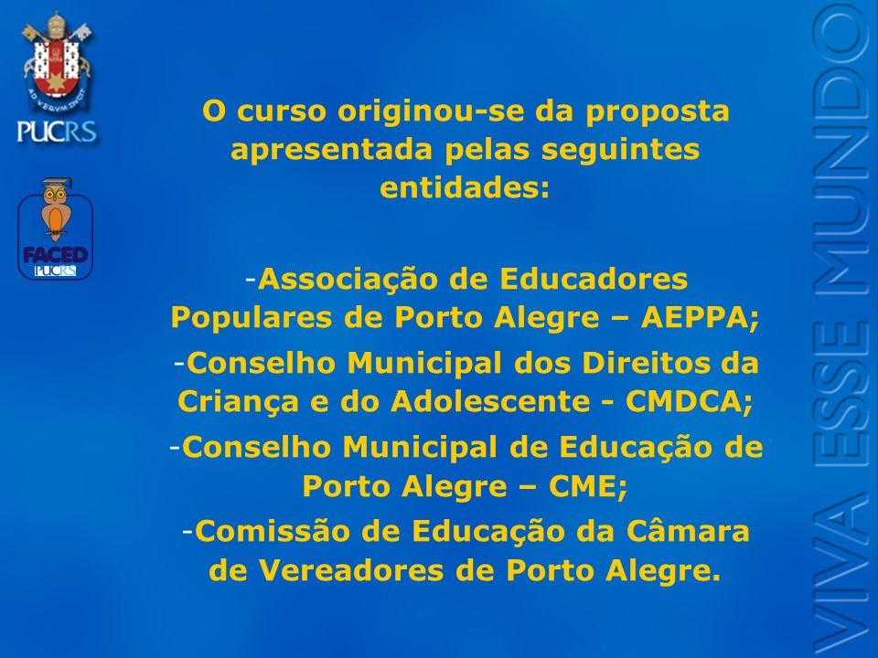O curso originou-se da proposta apresentada pelas seguintes entidades: