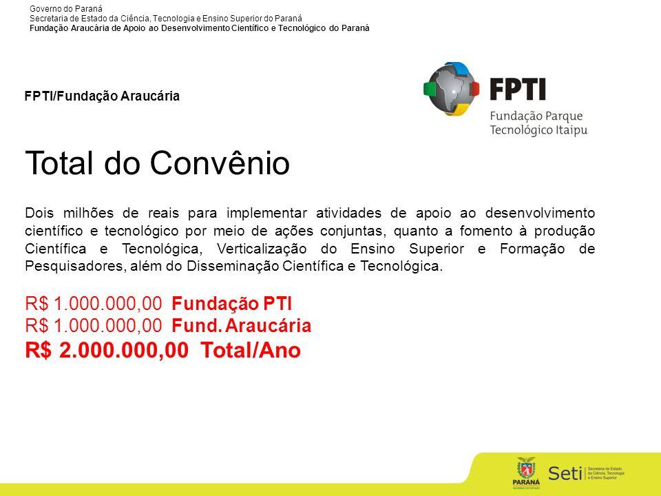 Total do Convênio R$ 1.000.000,00 Fundação PTI