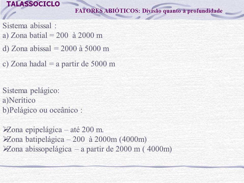 TALASSOCICLO Sistema abissal : a) Zona batial = 200 à 2000 m