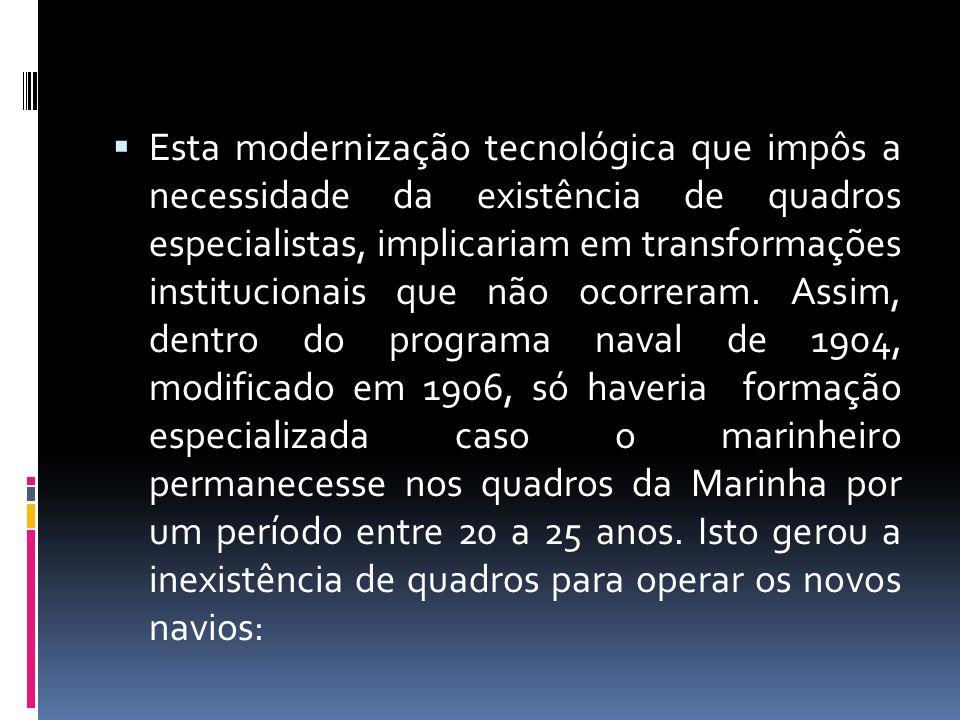 Esta modernização tecnológica que impôs a necessidade da existência de quadros especialistas, implicariam em transformações institucionais que não ocorreram.