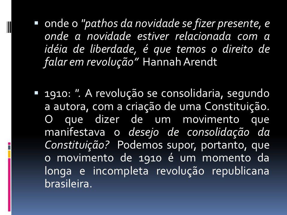 onde o pathos da novidade se fizer presente, e onde a novidade estiver relacionada com a idéia de liberdade, é que temos o direito de falar em revolução Hannah Arendt