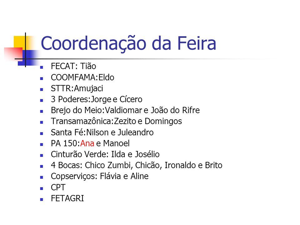 Coordenação da Feira FECAT: Tião COOMFAMA:Eldo STTR:Amujaci