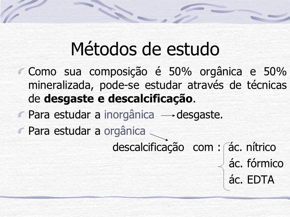 Métodos de estudo Como sua composição é 50% orgânica e 50% mineralizada, pode-se estudar através de técnicas de desgaste e descalcificação.