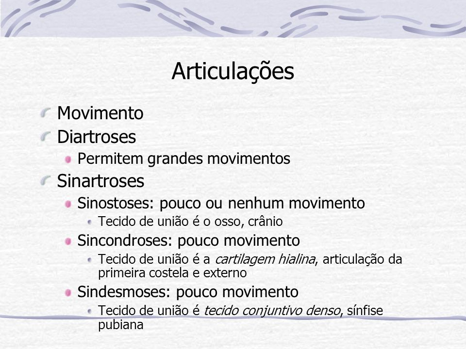 Articulações Movimento Diartroses Sinartroses