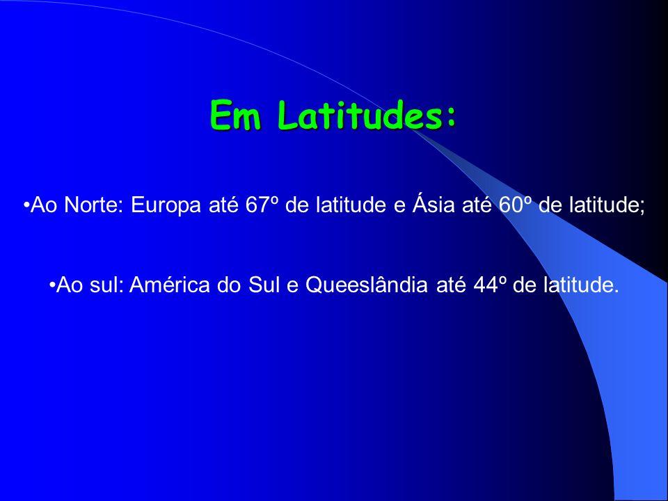 Em Latitudes: Ao Norte: Europa até 67º de latitude e Ásia até 60º de latitude; Ao sul: América do Sul e Queeslândia até 44º de latitude.