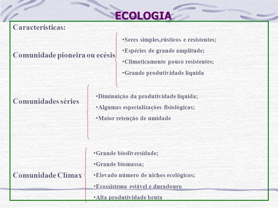 ECOLOGIA Características: Comunidade pioneira ou ecésis