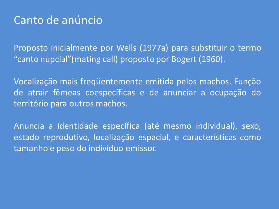 Canto de anúncioProposto inicialmente por Wells (1977a) para substituir o termo canto nupcial (mating call) proposto por Bogert (1960).