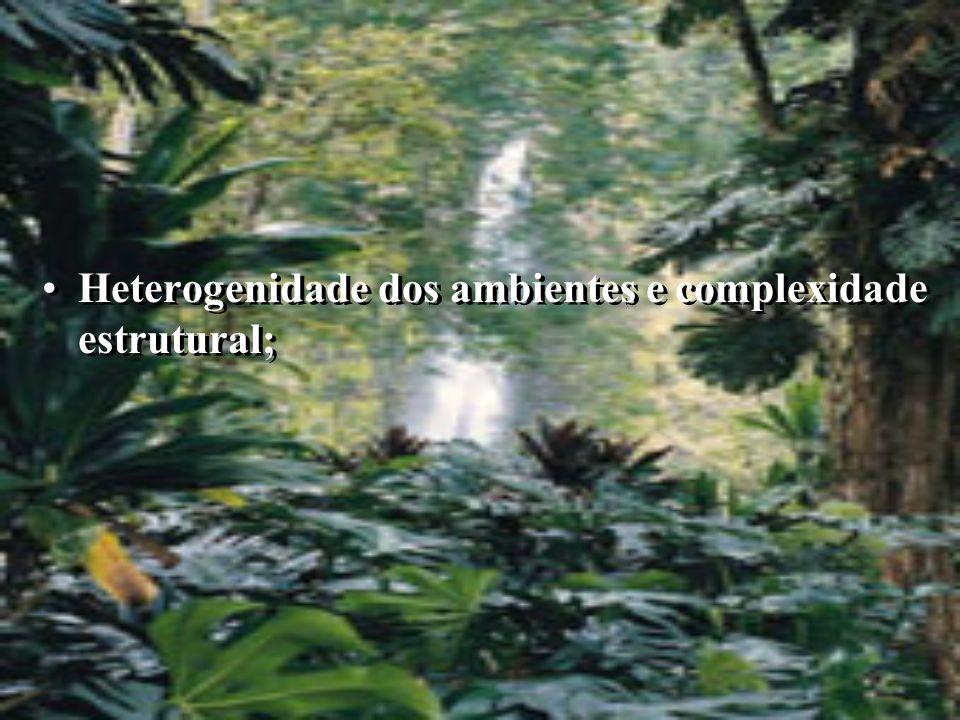 Heterogenidade dos ambientes e complexidade estrutural;