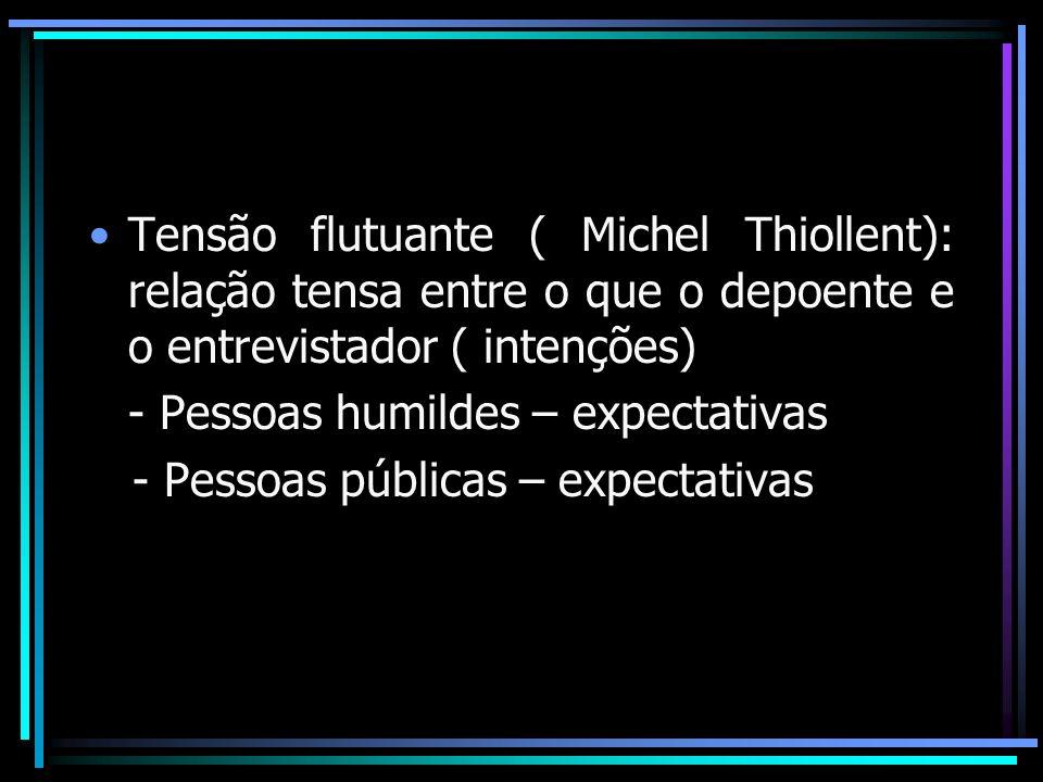 Tensão flutuante ( Michel Thiollent): relação tensa entre o que o depoente e o entrevistador ( intenções)