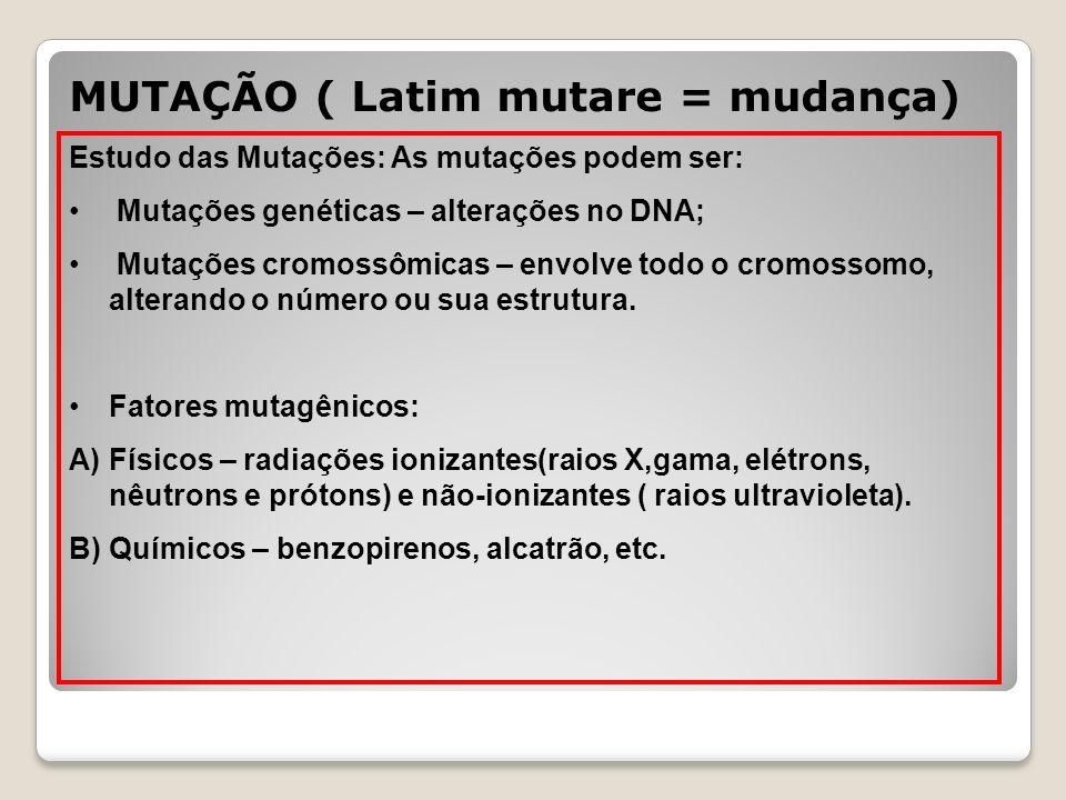 MUTAÇÃO ( Latim mutare = mudança)