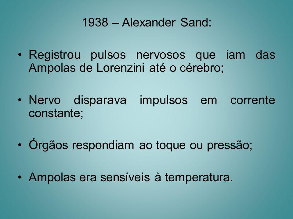 1938 – Alexander Sand: Registrou pulsos nervosos que iam das Ampolas de Lorenzini até o cérebro; Nervo disparava impulsos em corrente constante;