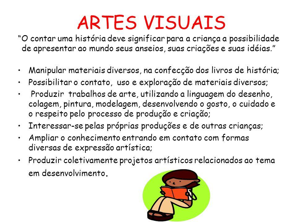 ARTES VISUAIS O contar uma história deve significar para a criança a possibilidade de apresentar ao mundo seus anseios, suas criações e suas idéias.