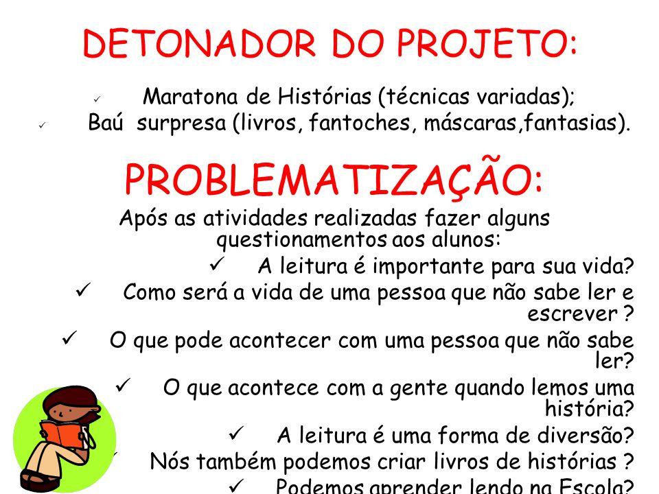 PROBLEMATIZAÇÃO: DETONADOR DO PROJETO: