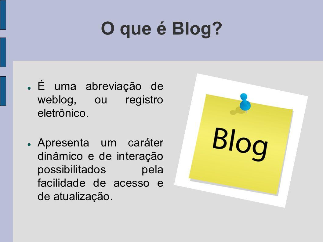 O que é Blog É uma abreviação de weblog, ou registro eletrônico.