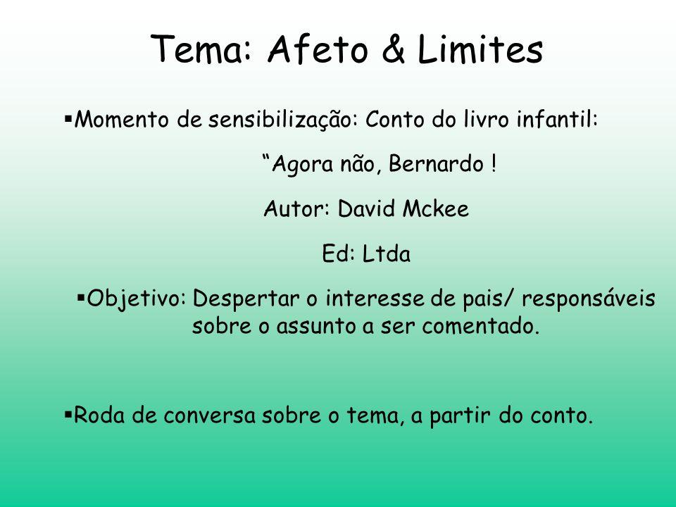 Tema: Afeto & Limites Momento de sensibilização: Conto do livro infantil: Agora não, Bernardo ! Autor: David Mckee.