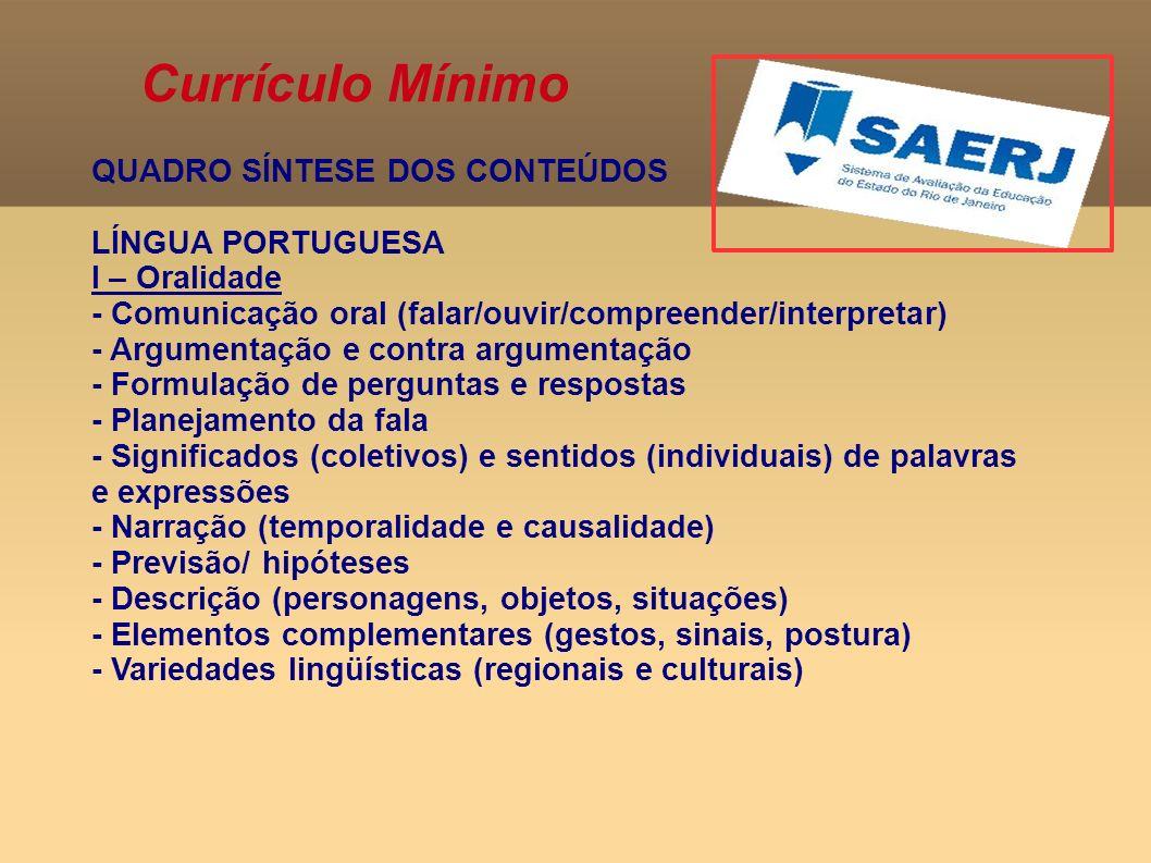 Currículo Mínimo QUADRO SÍNTESE DOS CONTEÚDOS LÍNGUA PORTUGUESA