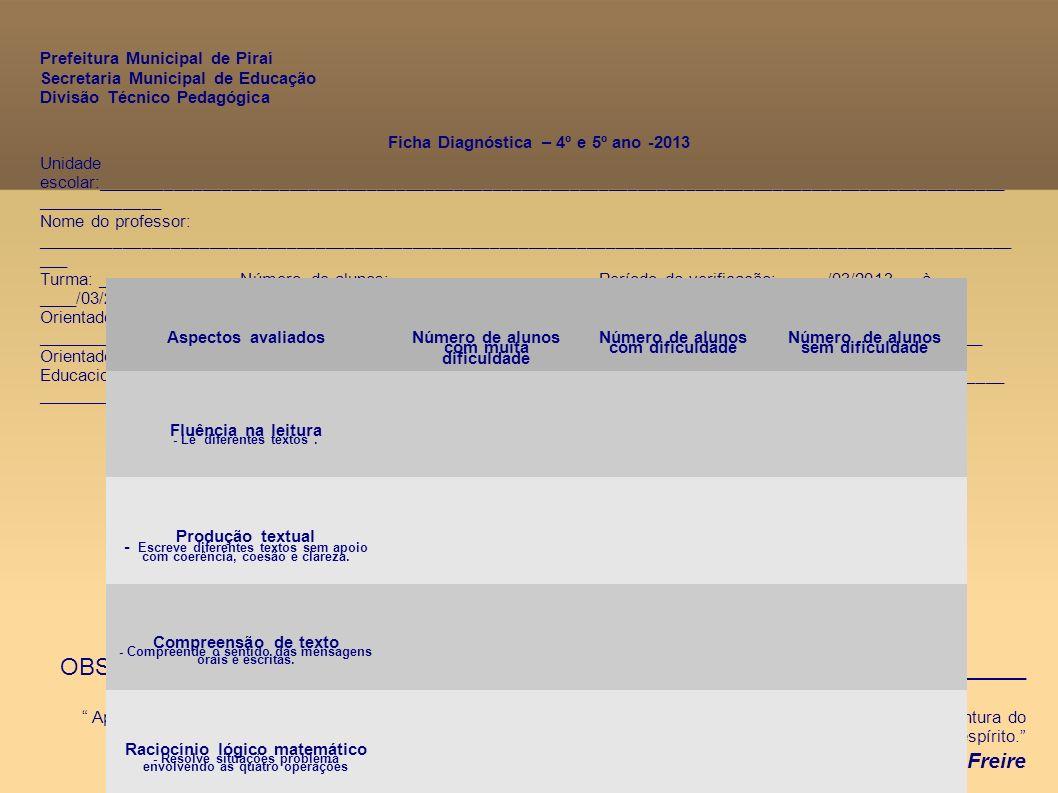 Ficha Diagnóstica – 4º e 5º ano -2013