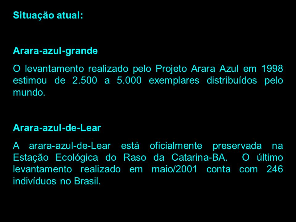 Situação atual: Arara-azul-grande.