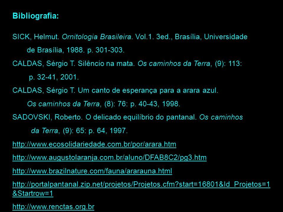 Bibliografia: SICK, Helmut. Ornitologia Brasileira. Vol.1. 3ed., Brasília, Universidade. de Brasília, 1988. p. 301-303.