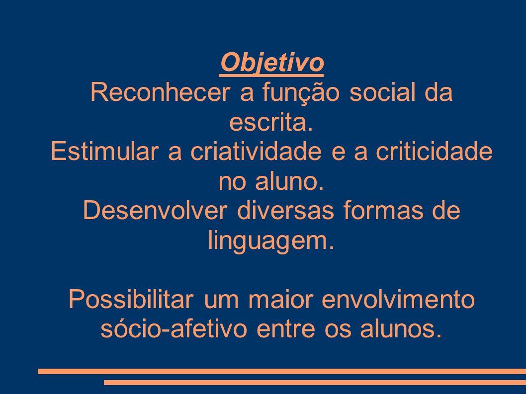 Objetivo Reconhecer a função social da escrita