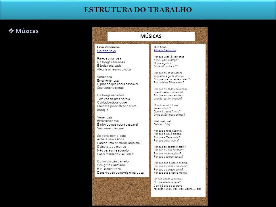 ESTRUTURA DO TRABALHO Músicas MÚSICAS Erva Venenosa Golden Boys