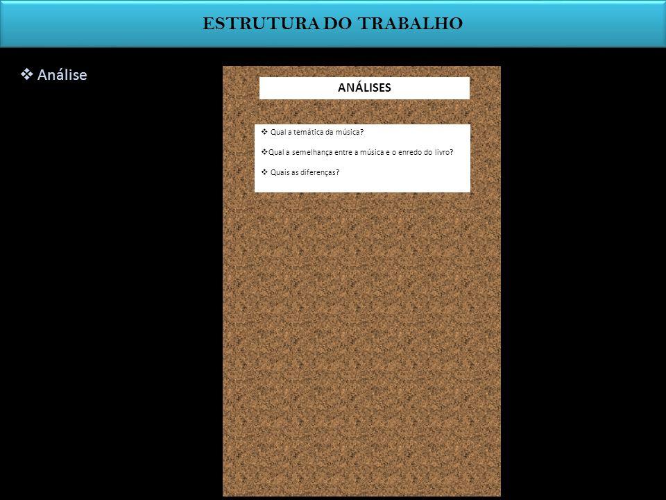 ESTRUTURA DO TRABALHO Análise ANÁLISES Qual a temática da música