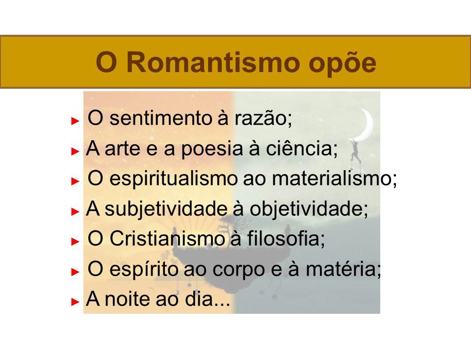 O Romantismo opõe ► O sentimento à razão;