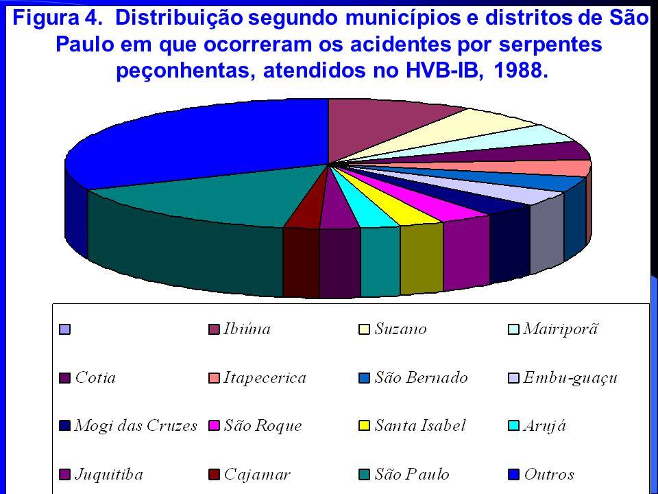 Figura 4. Distribuição segundo municípios e distritos de São