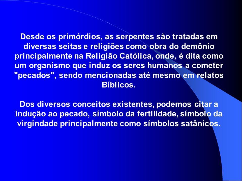 Desde os primórdios, as serpentes são tratadas em diversas seitas e religiões como obra do demônio principalmente na Religião Católica, onde, é dita como um organismo que induz os seres humanos a cometer pecados , sendo mencionadas até mesmo em relatos Bíblicos.
