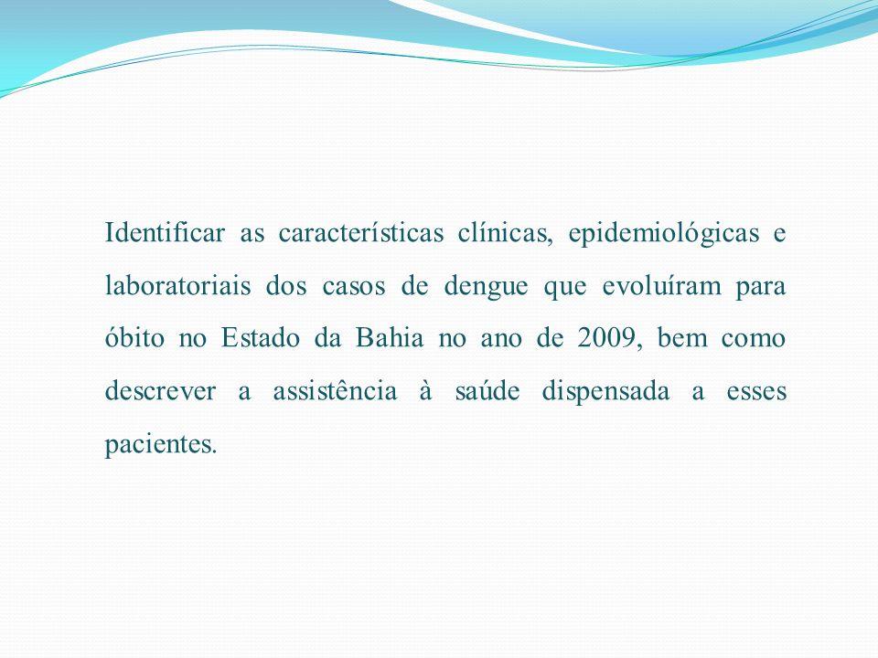 Identificar as características clínicas, epidemiológicas e laboratoriais dos casos de dengue que evoluíram para óbito no Estado da Bahia no ano de 2009, bem como descrever a assistência à saúde dispensada a esses pacientes.