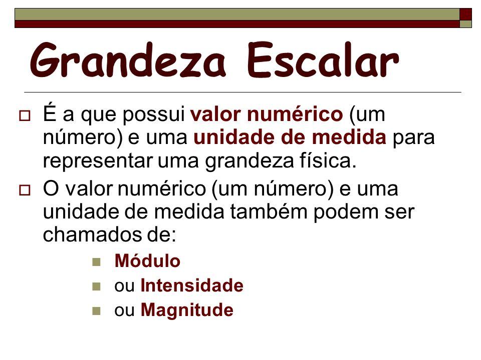 Grandeza Escalar É a que possui valor numérico (um número) e uma unidade de medida para representar uma grandeza física.