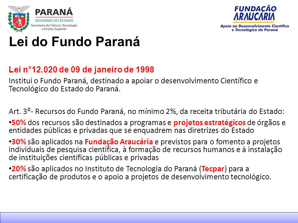 Lei do Fundo Paraná Lei n°12.020 de 09 de janeiro de 1998