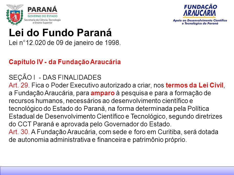 Lei do Fundo Paraná Lei n°12.020 de 09 de janeiro de 1998.