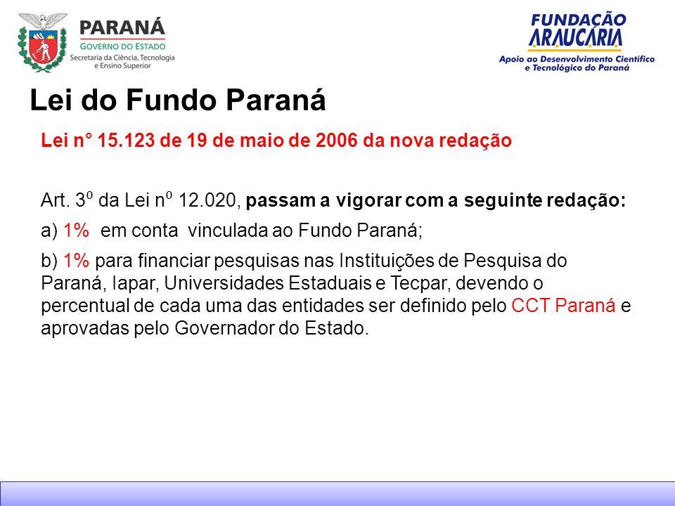 Lei do Fundo Paraná Lei n° 15.123 de 19 de maio de 2006 da nova redação. Art. 3⁰ da Lei n⁰ 12.020, passam a vigorar com a seguinte redação: