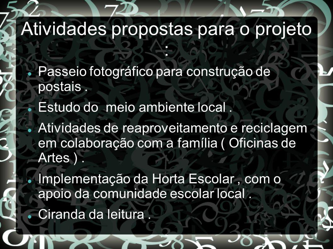 Atividades propostas para o projeto :