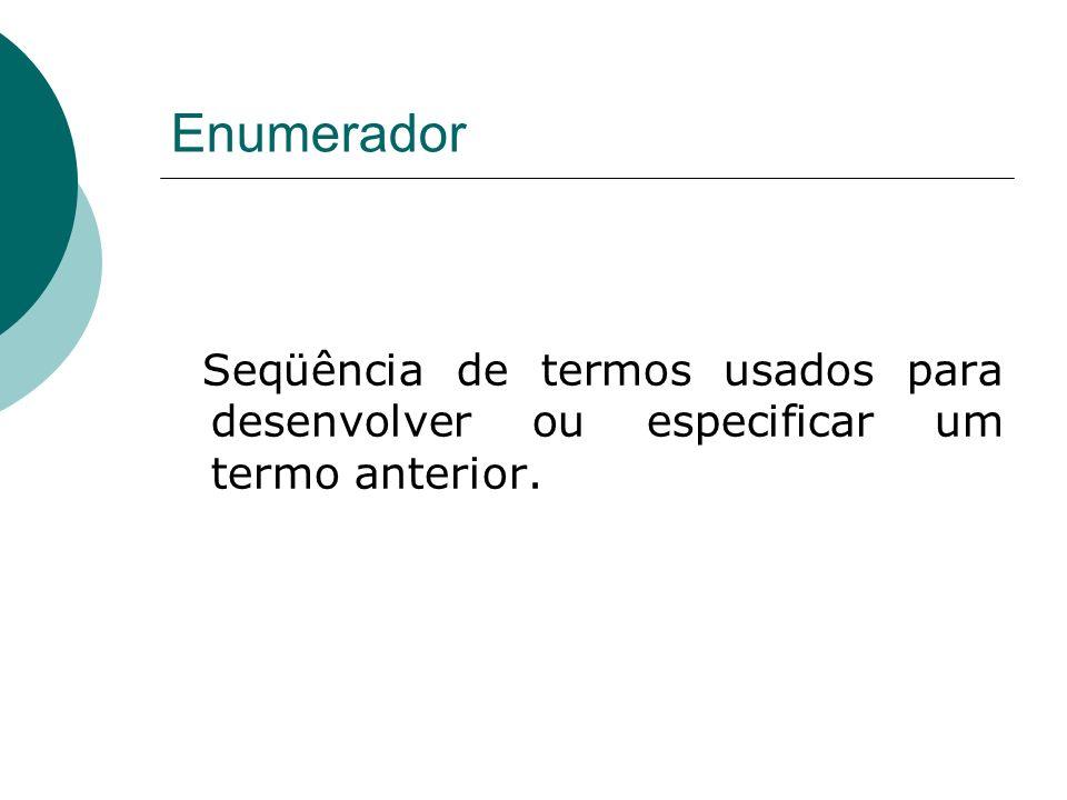 Enumerador Seqüência de termos usados para desenvolver ou especificar um termo anterior.