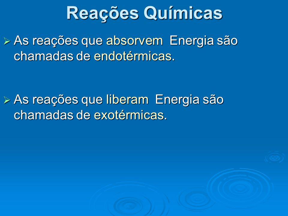 Reações Químicas As reações que absorvem Energia são chamadas de endotérmicas.