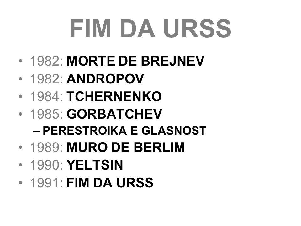 FIM DA URSS 1982: MORTE DE BREJNEV 1982: ANDROPOV 1984: TCHERNENKO