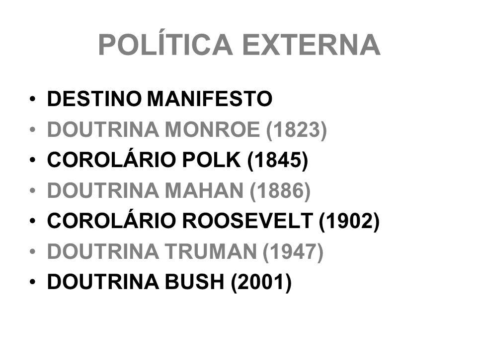 POLÍTICA EXTERNA DESTINO MANIFESTO DOUTRINA MONROE (1823)