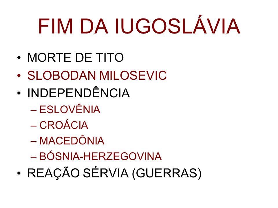 FIM DA IUGOSLÁVIA MORTE DE TITO SLOBODAN MILOSEVIC INDEPENDÊNCIA