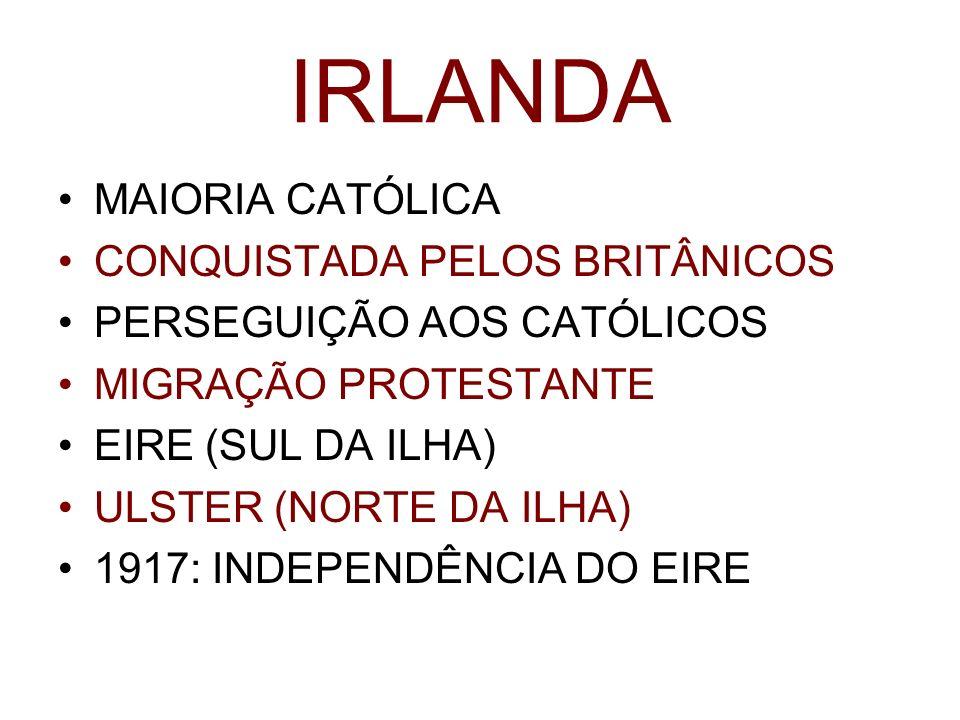 IRLANDA MAIORIA CATÓLICA CONQUISTADA PELOS BRITÂNICOS