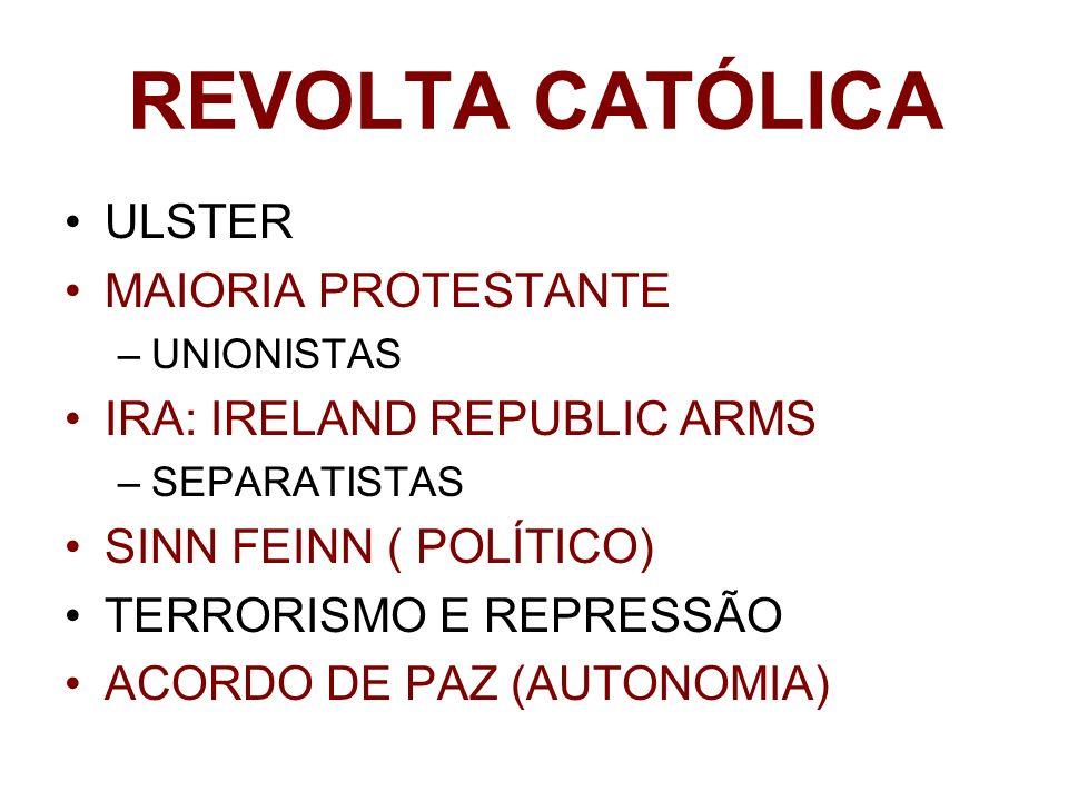 REVOLTA CATÓLICA ULSTER MAIORIA PROTESTANTE IRA: IRELAND REPUBLIC ARMS
