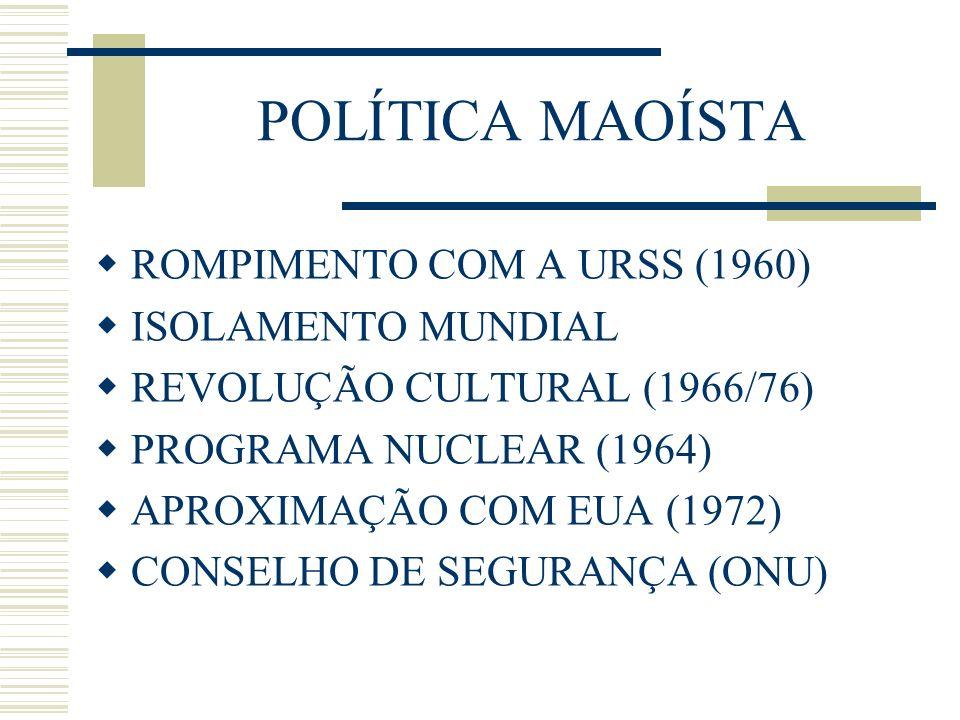 POLÍTICA MAOÍSTA ROMPIMENTO COM A URSS (1960) ISOLAMENTO MUNDIAL