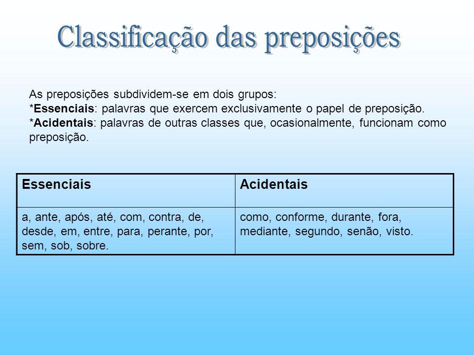 Classificação das preposições