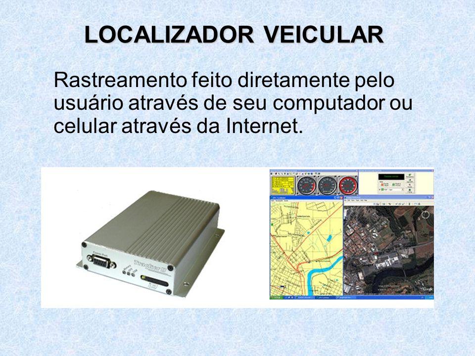 LOCALIZADOR VEICULAR Rastreamento feito diretamente pelo usuário através de seu computador ou celular através da Internet.