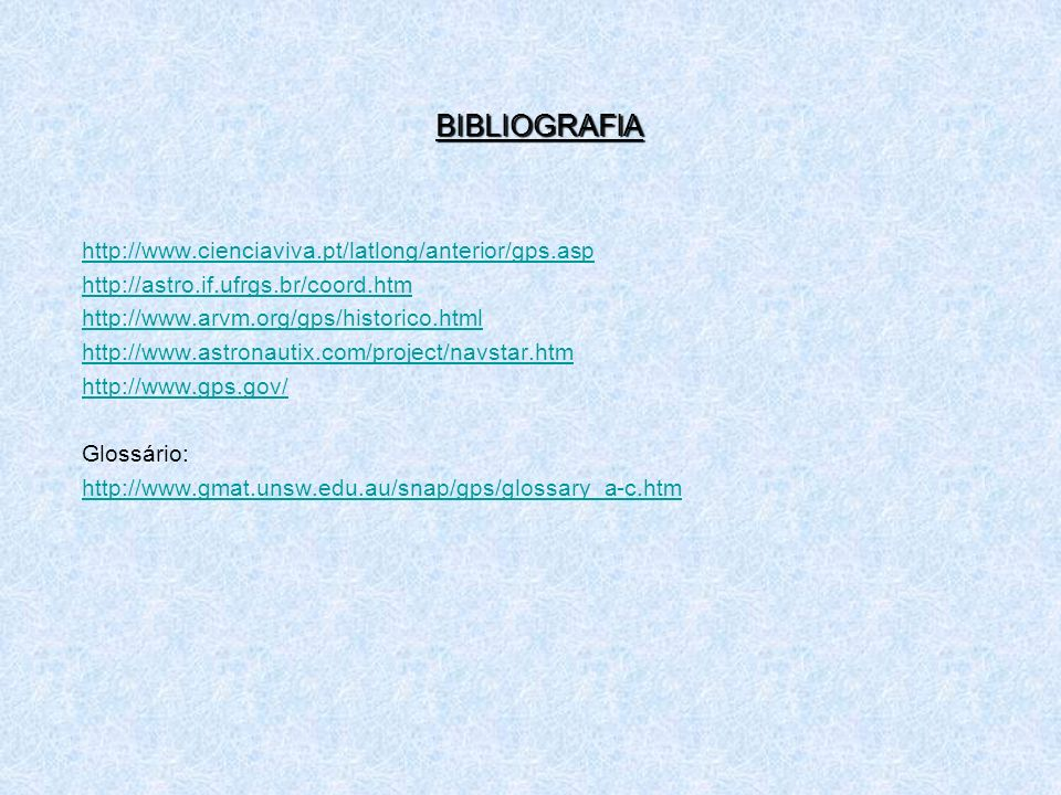 BIBLIOGRAFIA http://www.cienciaviva.pt/latlong/anterior/gps.asp