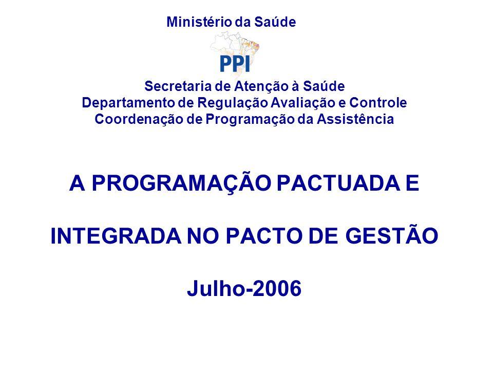A PROGRAMAÇÃO PACTUADA E INTEGRADA NO PACTO DE GESTÃO Julho-2006