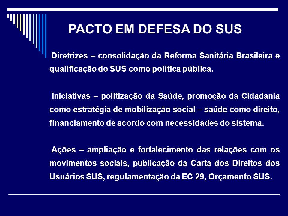 PACTO EM DEFESA DO SUS Diretrizes – consolidação da Reforma Sanitária Brasileira e qualificação do SUS como política pública.